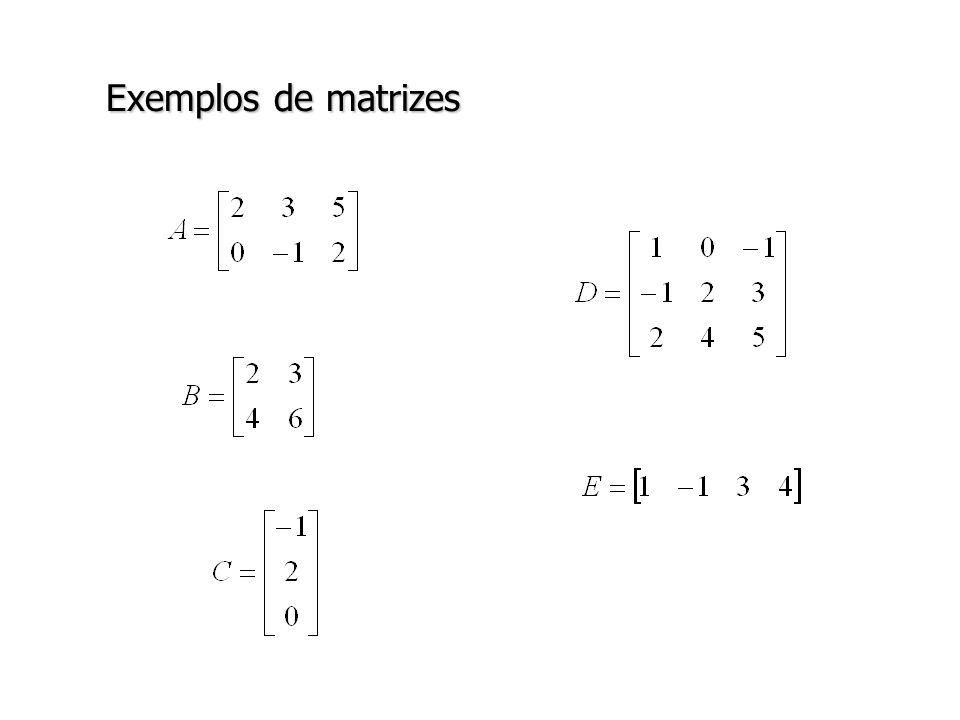 Matrizes Definição: Uma matriz quadrada A=[a ij ] em que todos elementos fora da diagonal são iguais a zero, isto é, a ij =0 para i j, é chamada de matriz diagonal.