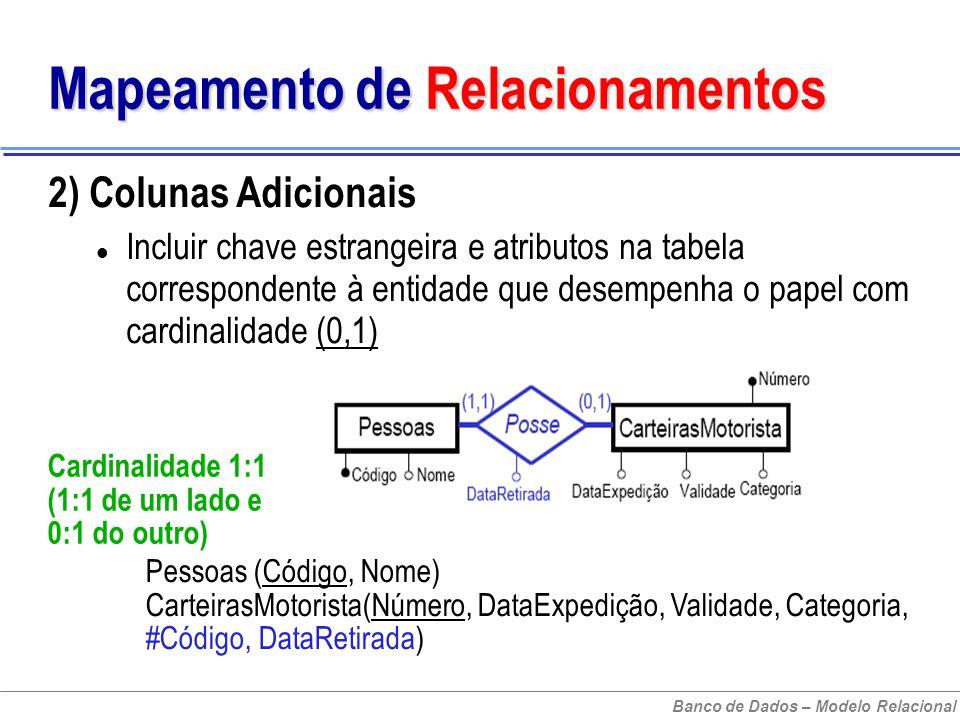 Banco de Dados – Modelo Relacional Mapeamento de Relacionamentos 2) Colunas Adicionais Incluir chave estrangeira e atributos na tabela correspondente à entidade que desempenha o papel com cardinalidade (0,1) Cardinalidade 1:1 (1:1 de um lado e 0:1 do outro) Pessoas (Código, Nome) CarteirasMotorista(Número, DataExpedição, Validade, Categoria, #Código, DataRetirada)