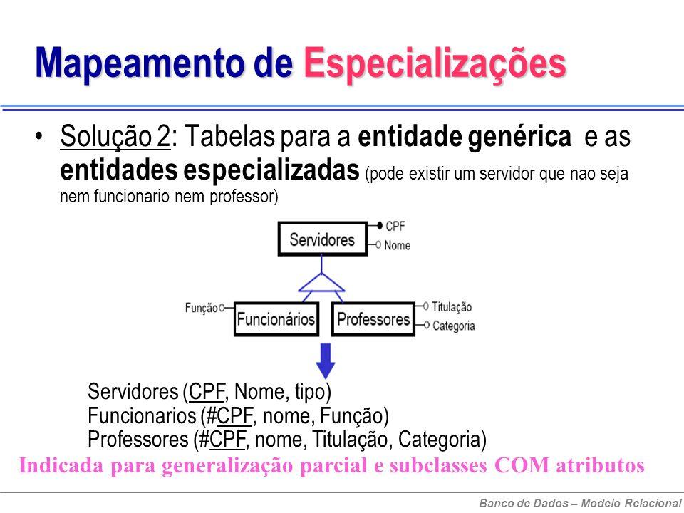 Banco de Dados – Modelo Relacional Mapeamento de Especializações Solução 2: Tabelas para a entidade genérica e as entidades especializadas (pode existir um servidor que nao seja nem funcionario nem professor) Servidores (CPF, Nome, tipo) Funcionarios (#CPF, nome, Função) Professores (#CPF, nome, Titulação, Categoria) Indicada para generalização parcial e subclasses COM atributos