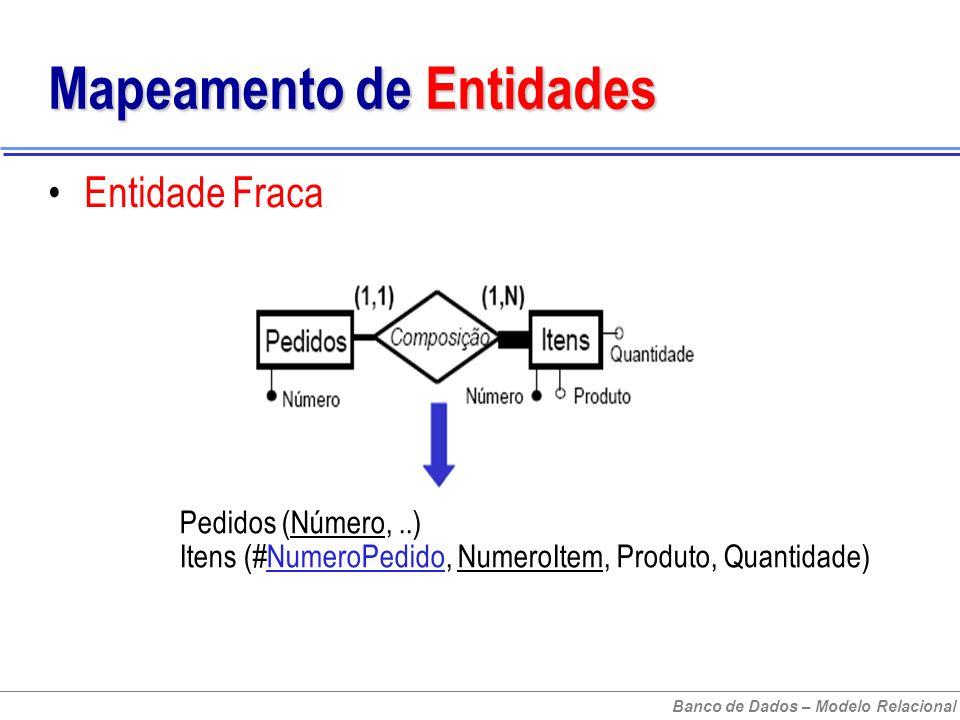 Banco de Dados – Modelo Relacional Mapeamento de Entidades Entidade Fraca Pedidos (Número,..) Itens (#NumeroPedido, NumeroItem, Produto, Quantidade)
