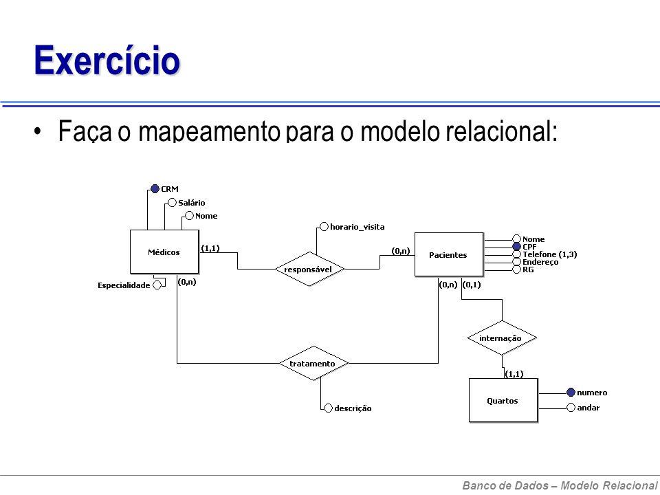 Banco de Dados – Modelo Relacional Exercício Faça o mapeamento para o modelo relacional: