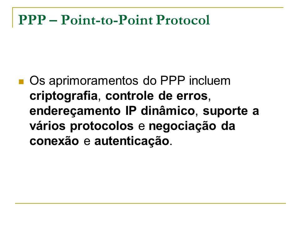 PPP – Point-to-Point Protocol Os aprimoramentos do PPP incluem criptografia, controle de erros, endereçamento IP dinâmico, suporte a vários protocolos