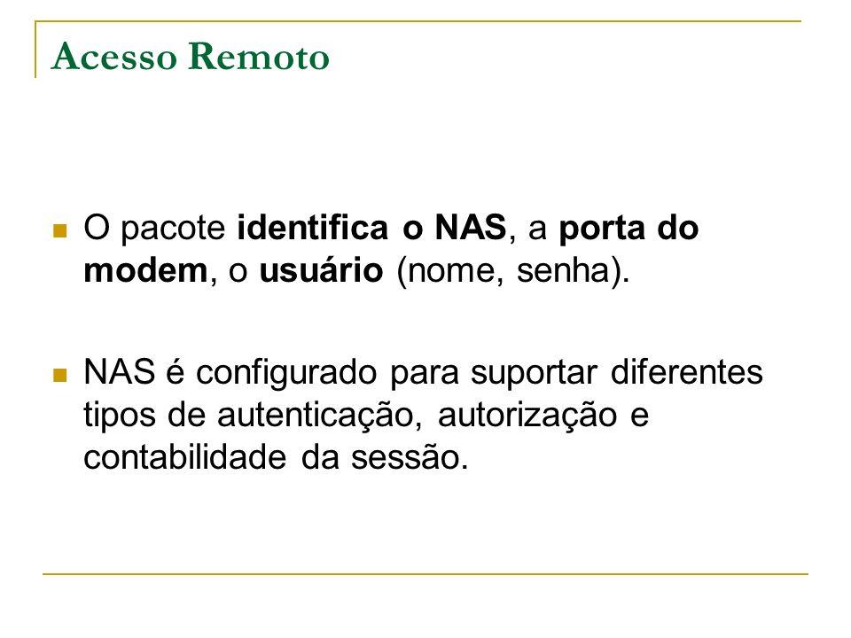 Acesso Remoto O pacote identifica o NAS, a porta do modem, o usuário (nome, senha). NAS é configurado para suportar diferentes tipos de autenticação,