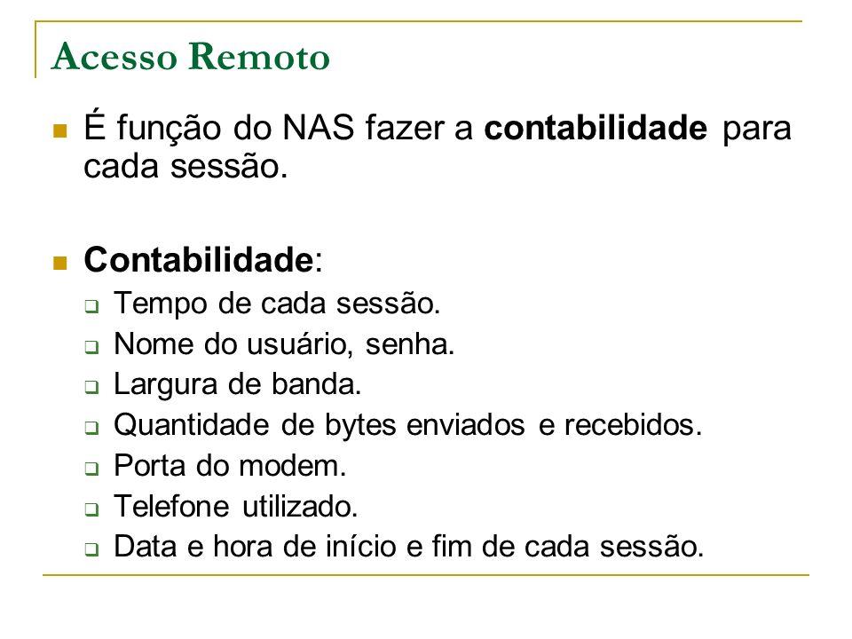 Acesso Remoto É função do NAS fazer a contabilidade para cada sessão. Contabilidade: Tempo de cada sessão. Nome do usuário, senha. Largura de banda. Q