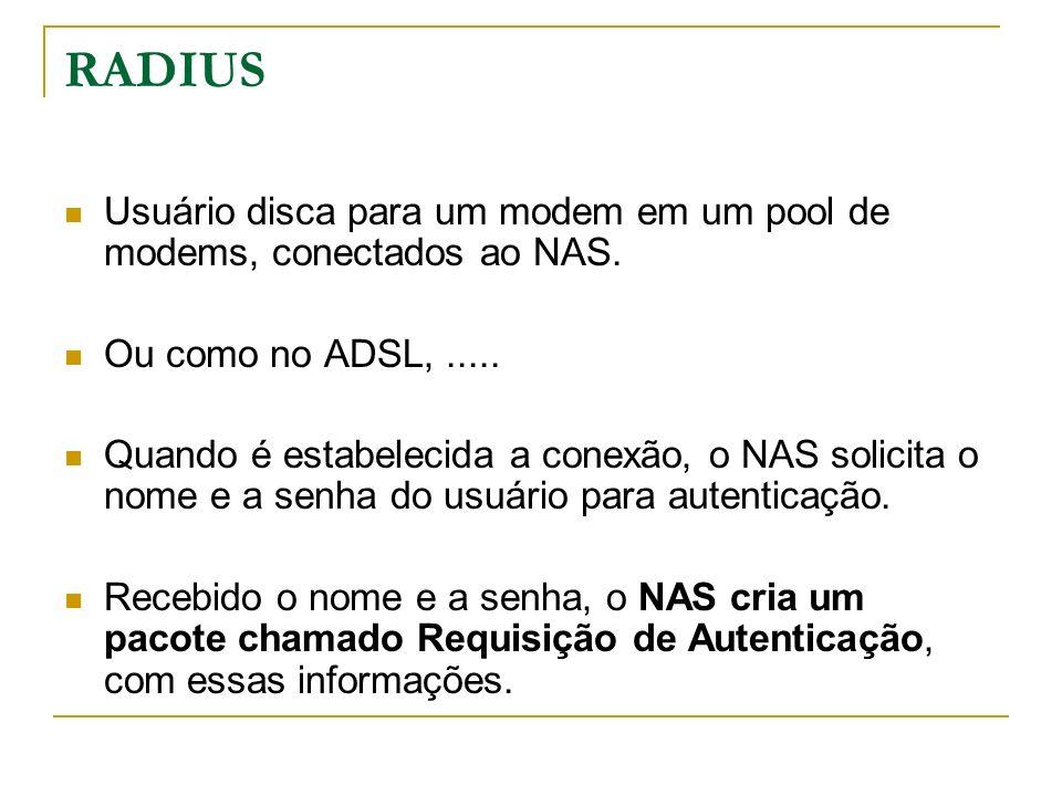 RADIUS Usuário disca para um modem em um pool de modems, conectados ao NAS. Ou como no ADSL,..... Quando é estabelecida a conexão, o NAS solicita o no