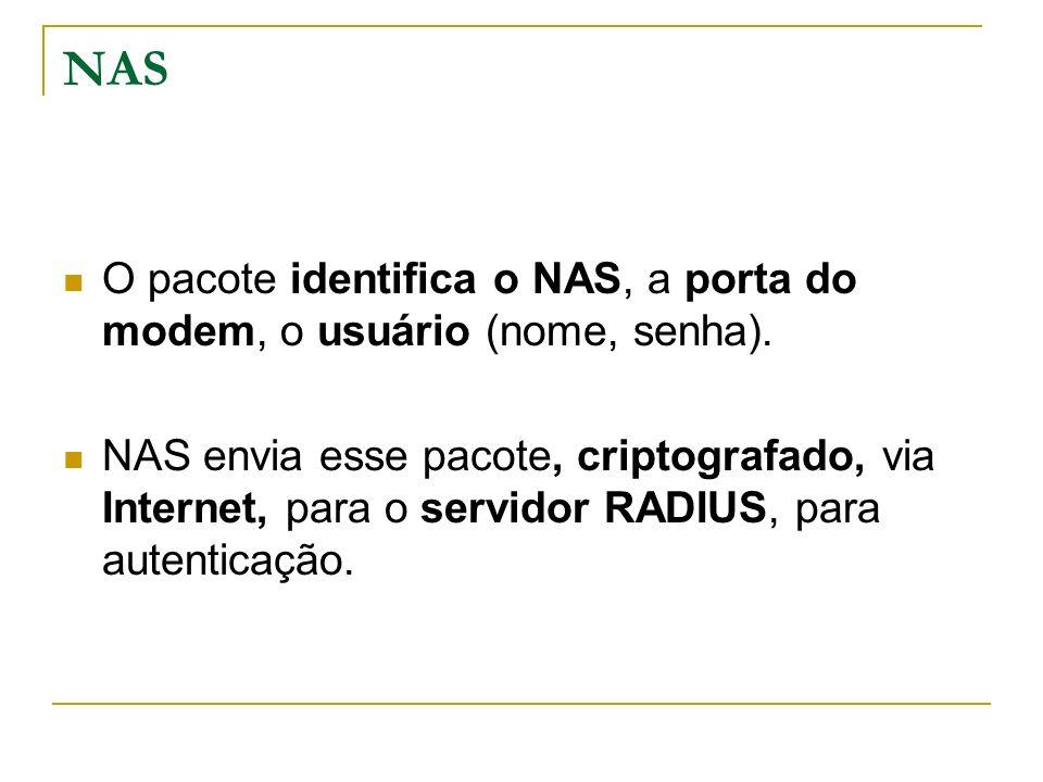 NAS O pacote identifica o NAS, a porta do modem, o usuário (nome, senha). NAS envia esse pacote, criptografado, via Internet, para o servidor RADIUS,