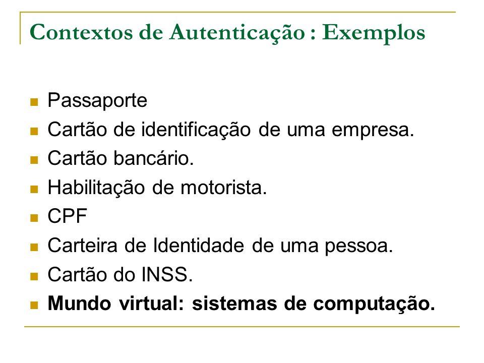 Contextos de Autenticação : Exemplos Passaporte Cartão de identificação de uma empresa. Cartão bancário. Habilitação de motorista. CPF Carteira de Ide