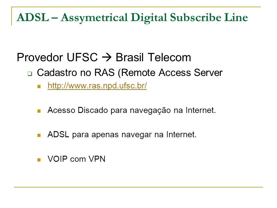 ADSL – Assymetrical Digital Subscribe Line Provedor UFSC Brasil Telecom Cadastro no RAS (Remote Access Server http://www.ras.npd.ufsc.br/ Acesso Disca