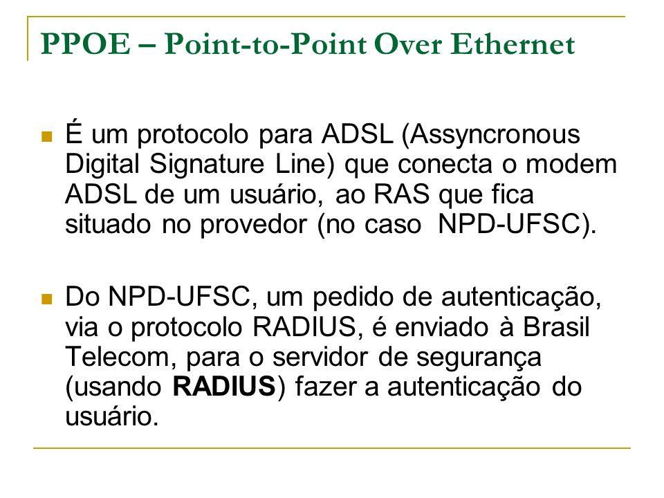 PPOE – Point-to-Point Over Ethernet É um protocolo para ADSL (Assyncronous Digital Signature Line) que conecta o modem ADSL de um usuário, ao RAS que