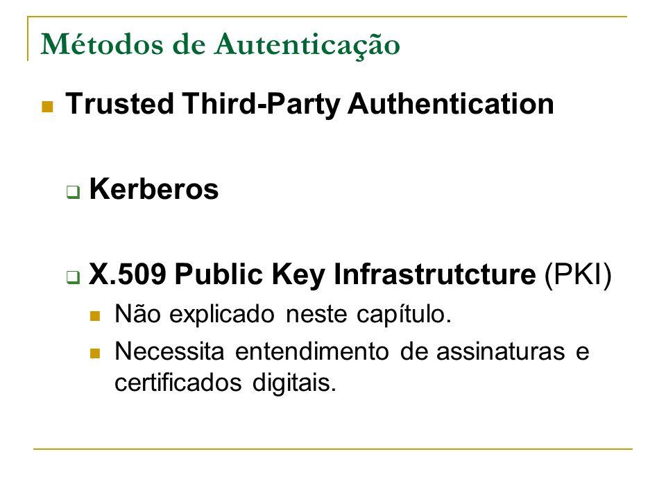 Métodos de Autenticação Trusted Third-Party Authentication Kerberos X.509 Public Key Infrastrutcture (PKI) Não explicado neste capítulo. Necessita ent