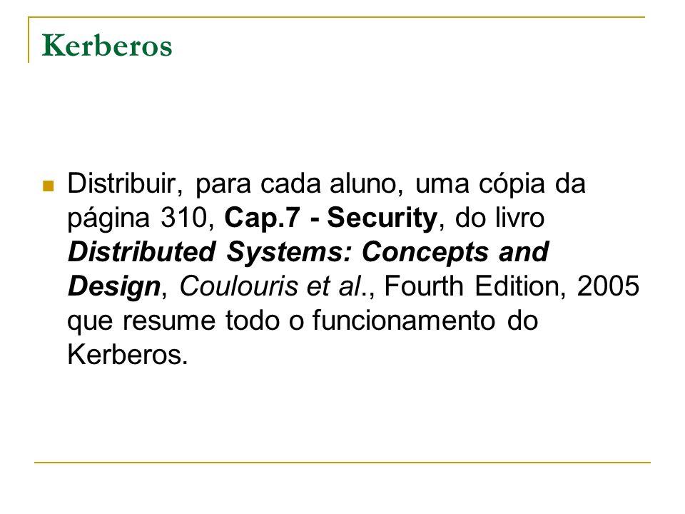 Kerberos Distribuir, para cada aluno, uma cópia da página 310, Cap.7 - Security, do livro Distributed Systems: Concepts and Design, Coulouris et al.,