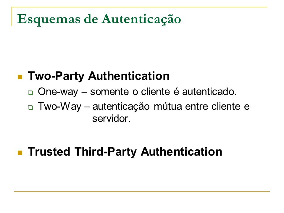 Esquemas Two-Party Athentication Password Challenge/Response One-Time Password (OTP) – S/Key One-Time Password by Tokens Smartcards Biometria