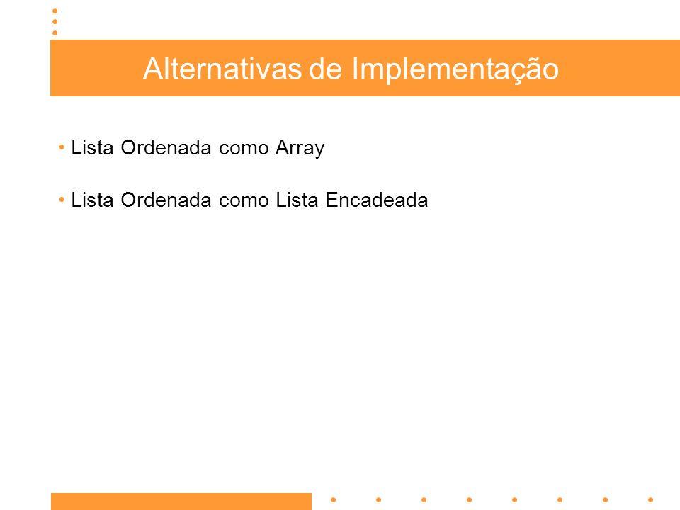 Alternativas de Implementação Lista Ordenada como Array Lista Ordenada como Lista Encadeada