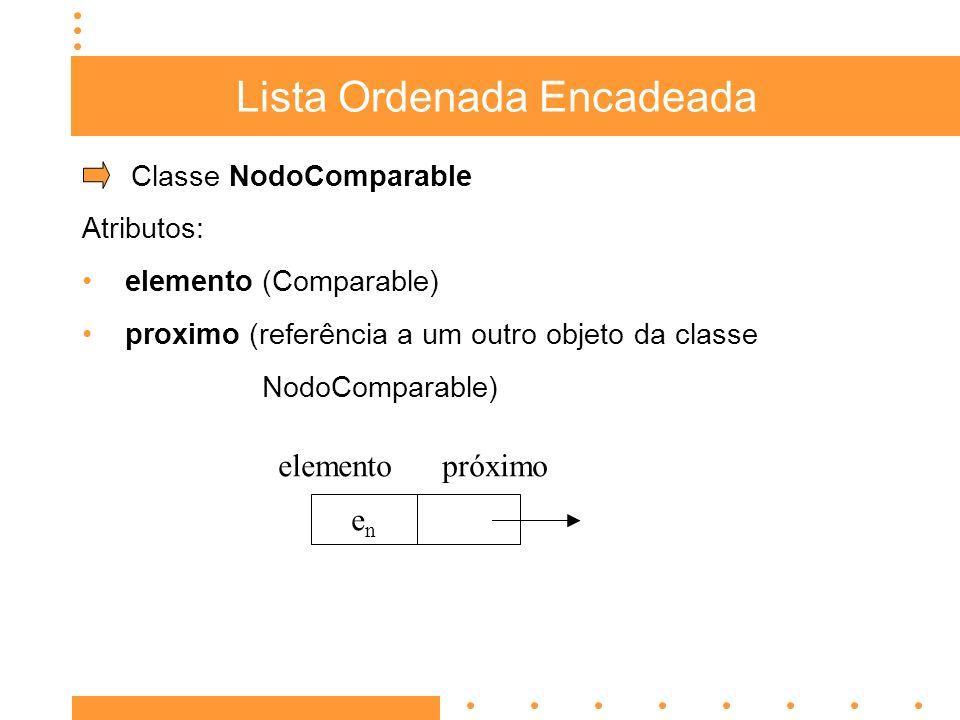 Lista Ordenada Encadeada Classe NodoComparable Atributos: elemento (Comparable) proximo (referência a um outro objeto da classe NodoComparable) enen e