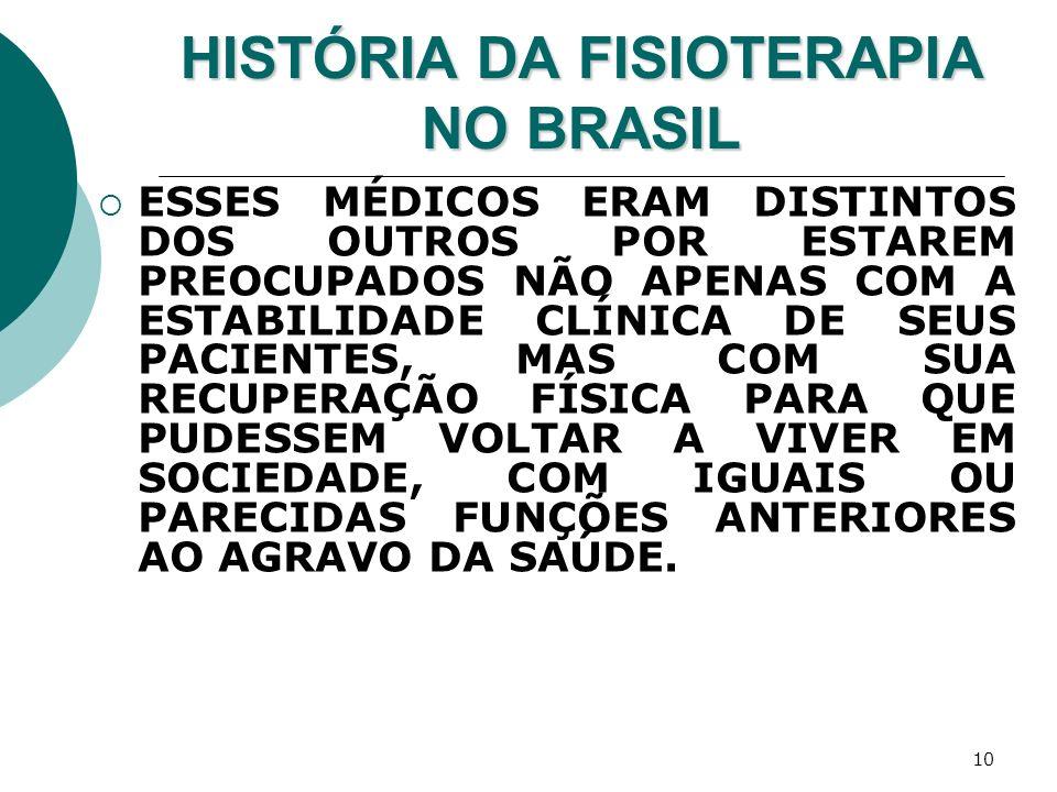 10 HISTÓRIA DA FISIOTERAPIA NO BRASIL ESSES MÉDICOS ERAM DISTINTOS DOS OUTROS POR ESTAREM PREOCUPADOS NÃO APENAS COM A ESTABILIDADE CLÍNICA DE SEUS PA