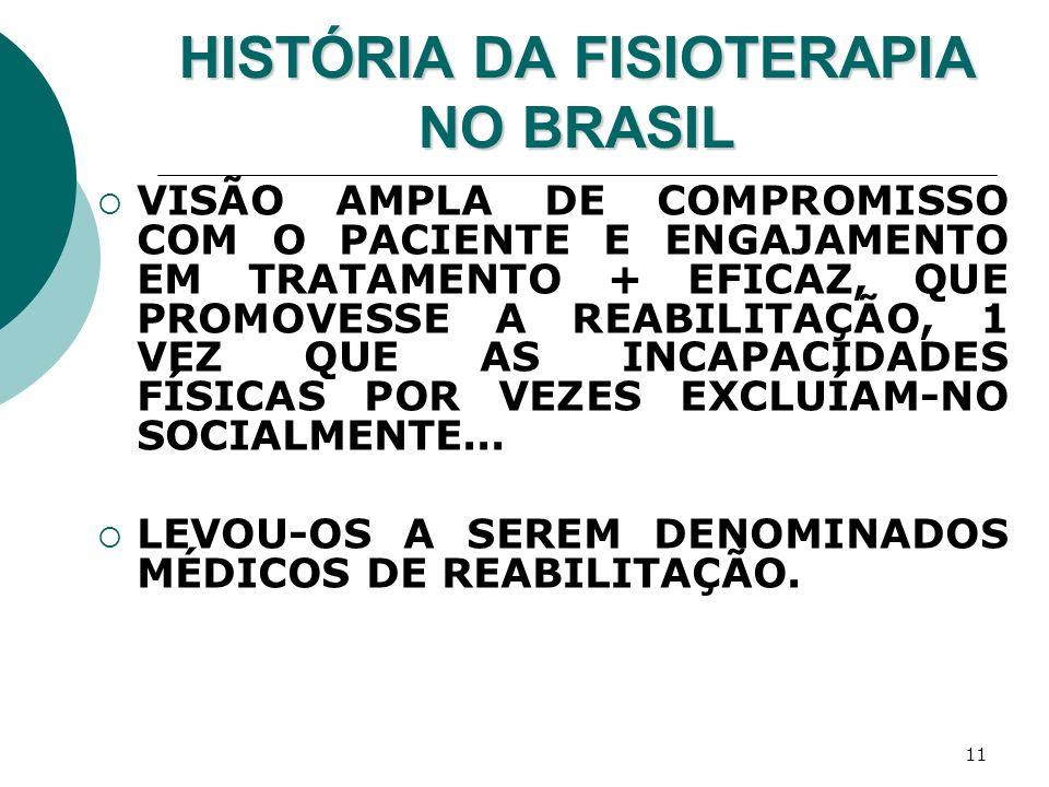 11 HISTÓRIA DA FISIOTERAPIA NO BRASIL VISÃO AMPLA DE COMPROMISSO COM O PACIENTE E ENGAJAMENTO EM TRATAMENTO + EFICAZ, QUE PROMOVESSE A REABILITAÇÃO, 1
