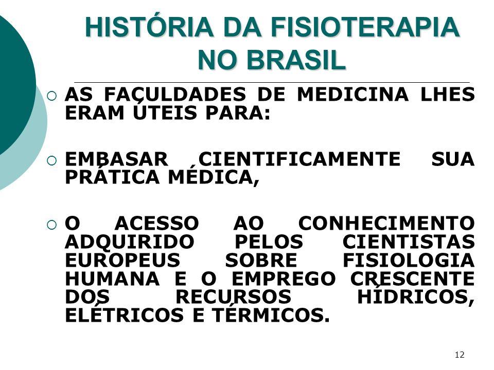 12 HISTÓRIA DA FISIOTERAPIA NO BRASIL AS FACULDADES DE MEDICINA LHES ERAM ÚTEIS PARA: EMBASAR CIENTIFICAMENTE SUA PRÁTICA MÉDICA, O ACESSO AO CONHECIM