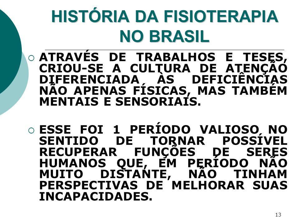 13 HISTÓRIA DA FISIOTERAPIA NO BRASIL ATRAVÉS DE TRABALHOS E TESES, CRIOU-SE A CULTURA DE ATENÇÃO DIFERENCIADA ÀS DEFICIÊNCIAS NÃO APENAS FÍSICAS, MAS