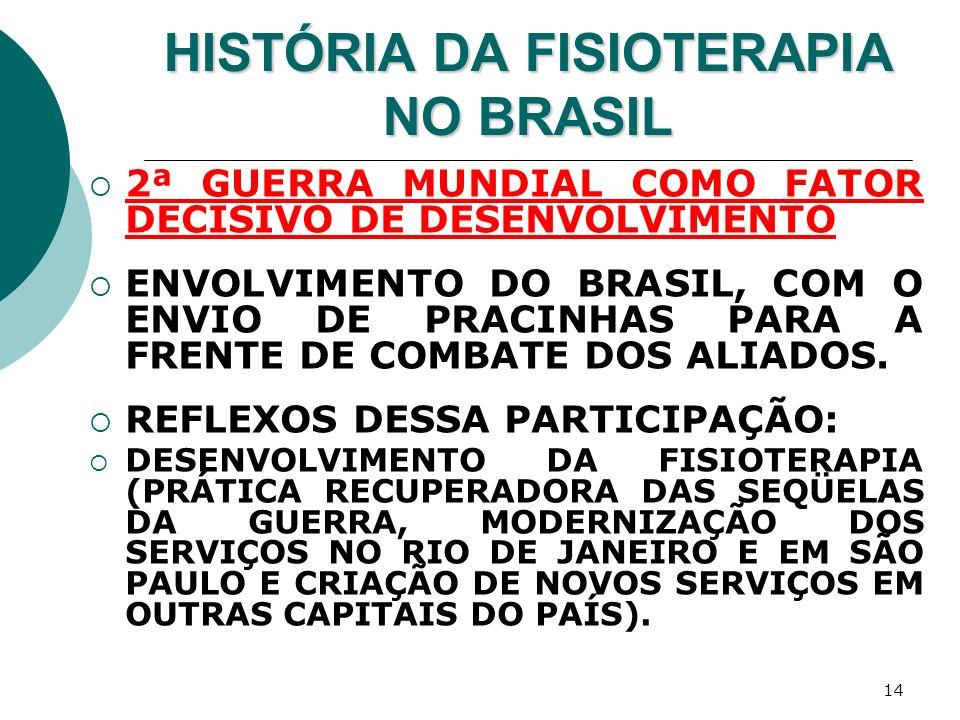 14 HISTÓRIA DA FISIOTERAPIA NO BRASIL 2ª GUERRA MUNDIAL COMO FATOR DECISIVO DE DESENVOLVIMENTO ENVOLVIMENTO DO BRASIL, COM O ENVIO DE PRACINHAS PARA A