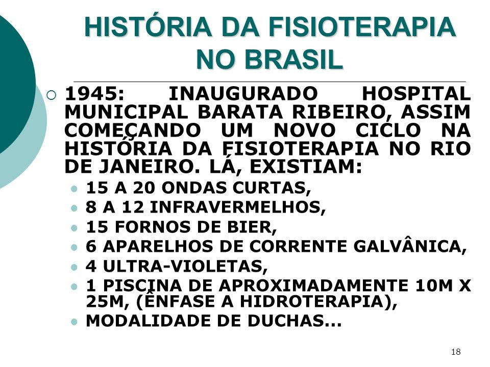 18 HISTÓRIA DA FISIOTERAPIA NO BRASIL 1945: INAUGURADO HOSPITAL MUNICIPAL BARATA RIBEIRO, ASSIM COMEÇANDO UM NOVO CICLO NA HISTÓRIA DA FISIOTERAPIA NO