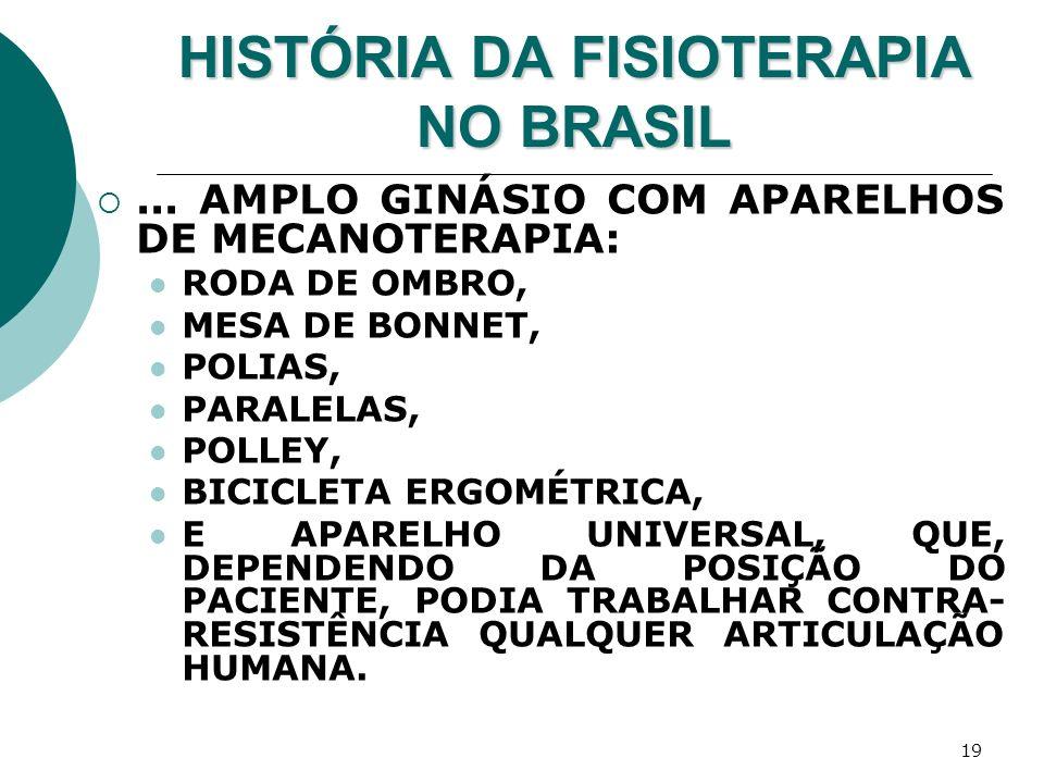 19 HISTÓRIA DA FISIOTERAPIA NO BRASIL... AMPLO GINÁSIO COM APARELHOS DE MECANOTERAPIA: RODA DE OMBRO, MESA DE BONNET, POLIAS, PARALELAS, POLLEY, BICIC