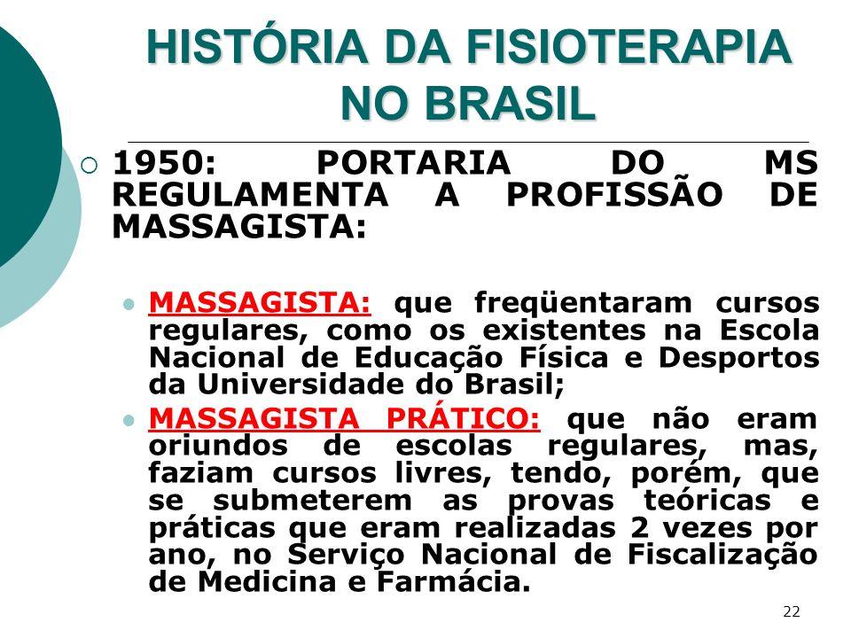 22 HISTÓRIA DA FISIOTERAPIA NO BRASIL 1950: PORTARIA DO MS REGULAMENTA A PROFISSÃO DE MASSAGISTA: MASSAGISTA: que freqüentaram cursos regulares, como