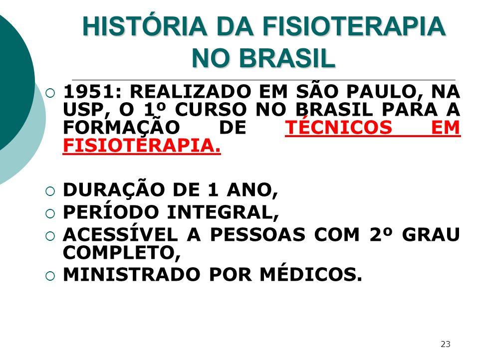 23 HISTÓRIA DA FISIOTERAPIA NO BRASIL 1951: REALIZADO EM SÃO PAULO, NA USP, O 1º CURSO NO BRASIL PARA A FORMAÇÃO DE TÉCNICOS EM FISIOTERAPIA. DURAÇÃO
