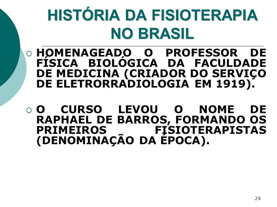 24 HISTÓRIA DA FISIOTERAPIA NO BRASIL HOMENAGEADO O PROFESSOR DE FÍSICA BIOLÓGICA DA FACULDADE DE MEDICINA (CRIADOR DO SERVIÇO DE ELETRORRADIOLOGIA EM