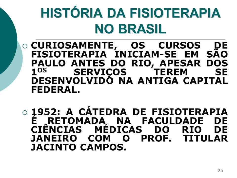 25 HISTÓRIA DA FISIOTERAPIA NO BRASIL CURIOSAMENTE, OS CURSOS DE FISIOTERAPIA INICIAM-SE EM SÃO PAULO ANTES DO RIO, APESAR DOS 1 OS SERVIÇOS TEREM SE