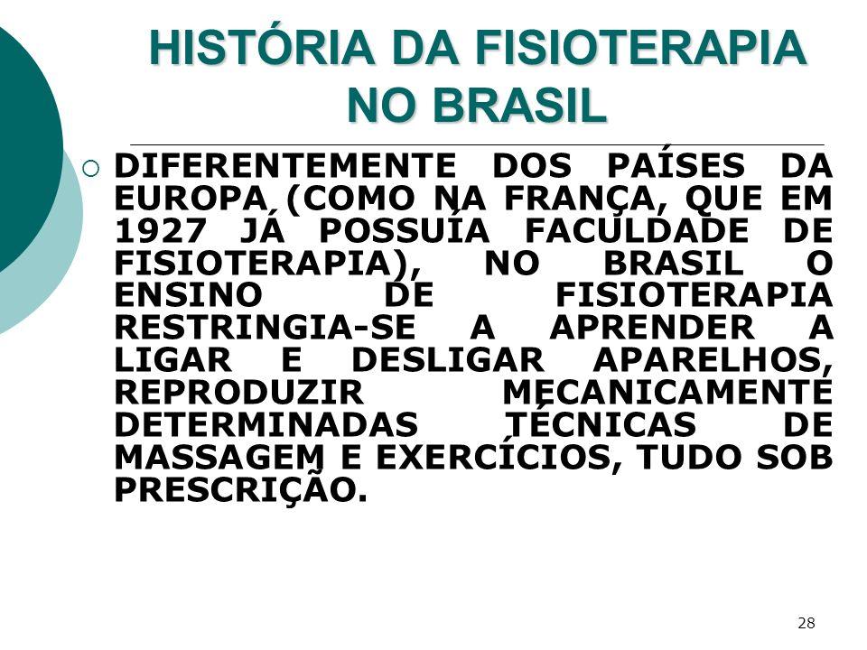 28 HISTÓRIA DA FISIOTERAPIA NO BRASIL DIFERENTEMENTE DOS PAÍSES DA EUROPA (COMO NA FRANÇA, QUE EM 1927 JÁ POSSUÍA FACULDADE DE FISIOTERAPIA), NO BRASI