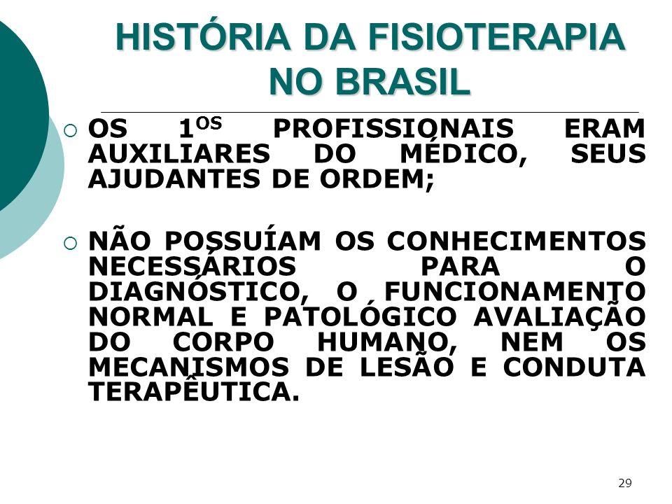29 HISTÓRIA DA FISIOTERAPIA NO BRASIL OS 1 OS PROFISSIONAIS ERAM AUXILIARES DO MÉDICO, SEUS AJUDANTES DE ORDEM; NÃO POSSUÍAM OS CONHECIMENTOS NECESSÁR