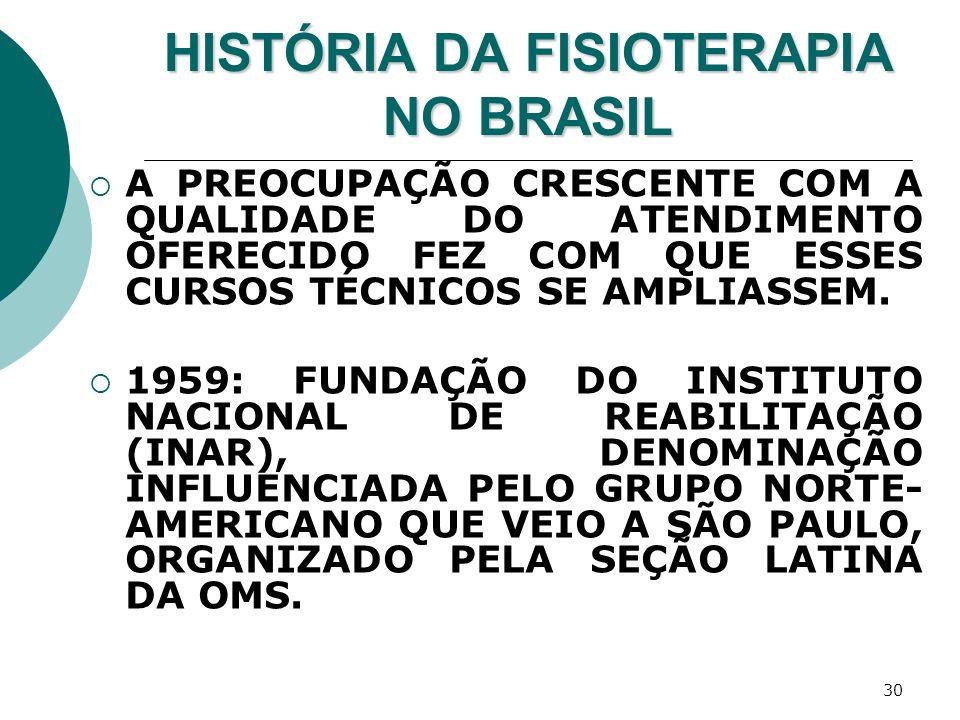 30 HISTÓRIA DA FISIOTERAPIA NO BRASIL A PREOCUPAÇÃO CRESCENTE COM A QUALIDADE DO ATENDIMENTO OFERECIDO FEZ COM QUE ESSES CURSOS TÉCNICOS SE AMPLIASSEM