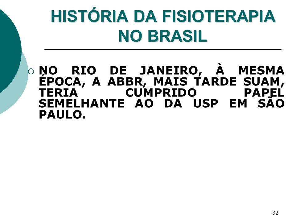 32 HISTÓRIA DA FISIOTERAPIA NO BRASIL NO RIO DE JANEIRO, À MESMA ÉPOCA, A ABBR, MAIS TARDE SUAM, TERIA CUMPRIDO PAPEL SEMELHANTE AO DA USP EM SÃO PAUL