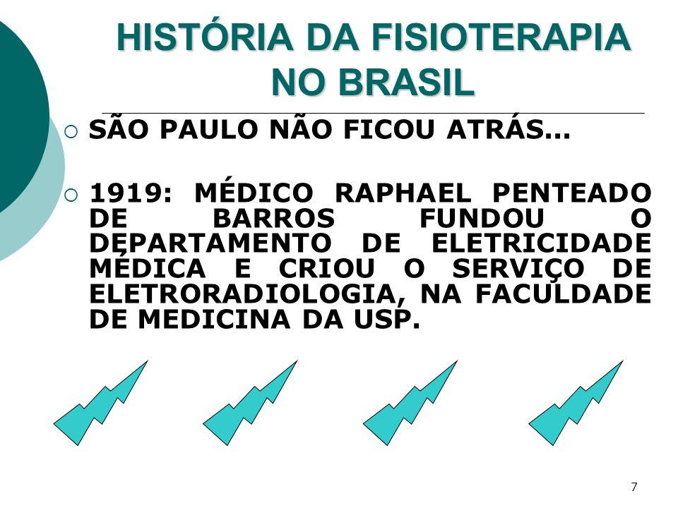 7 HISTÓRIA DA FISIOTERAPIA NO BRASIL SÃO PAULO NÃO FICOU ATRÁS... 1919: MÉDICO RAPHAEL PENTEADO DE BARROS FUNDOU O DEPARTAMENTO DE ELETRICIDADE MÉDICA