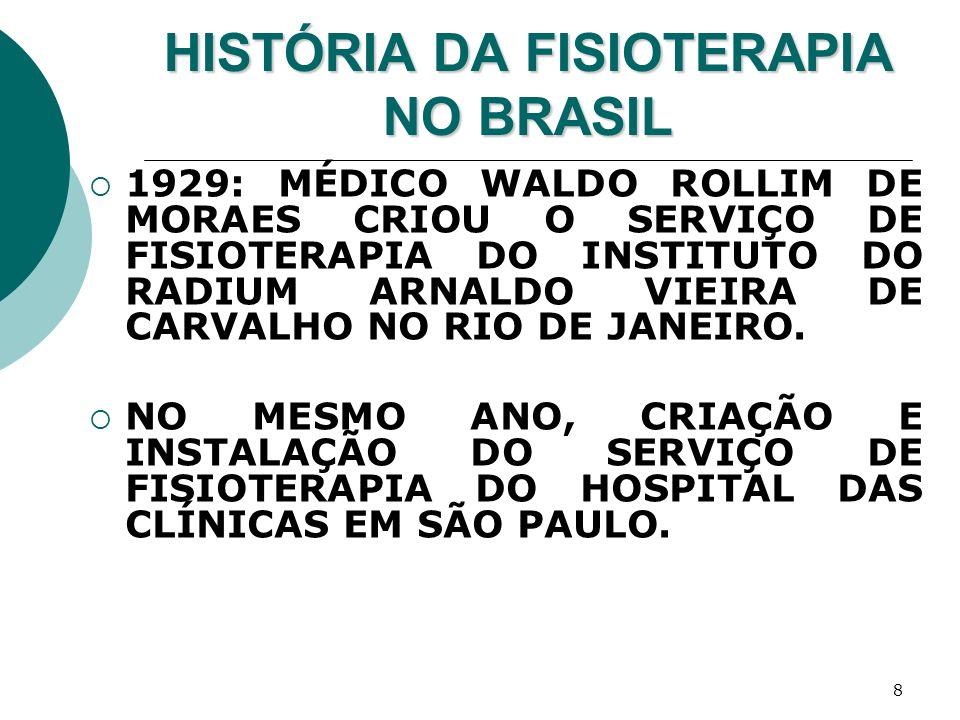 9 HISTÓRIA DA FISIOTERAPIA NO BRASIL 1930–40: RJ E SP POSSUÍAM SERVIÇOS DE FISIOTERAPIA IDEALIZADOS POR MÉDICOS QUE TOMAVAM PARA SI A TERAPÊUTICA DE FORMA INTEGRAL, EXPERIMENTANDO RECURSOS FÍSICOS QUE OUTROS MÉDICOS, NÀ ÉPOCA, NÃO OUSAVAM UTILIZAR.