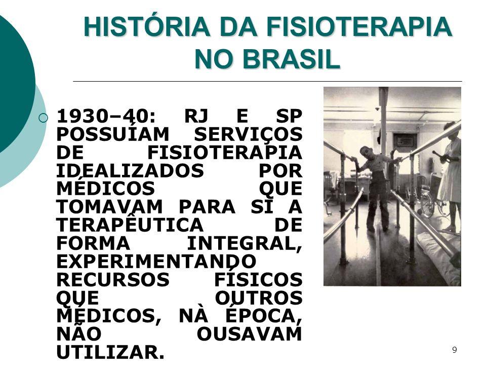 9 HISTÓRIA DA FISIOTERAPIA NO BRASIL 1930–40: RJ E SP POSSUÍAM SERVIÇOS DE FISIOTERAPIA IDEALIZADOS POR MÉDICOS QUE TOMAVAM PARA SI A TERAPÊUTICA DE F