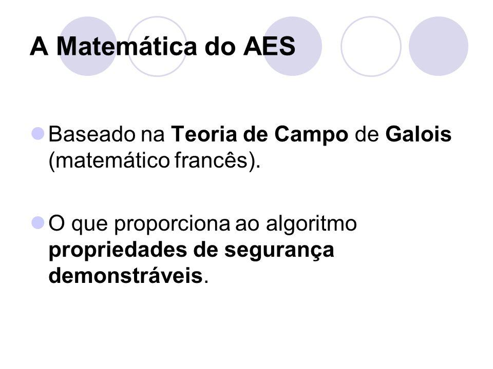 A Matemática do AES Baseado na Teoria de Campo de Galois (matemático francês). O que proporciona ao algoritmo propriedades de segurança demonstráveis.