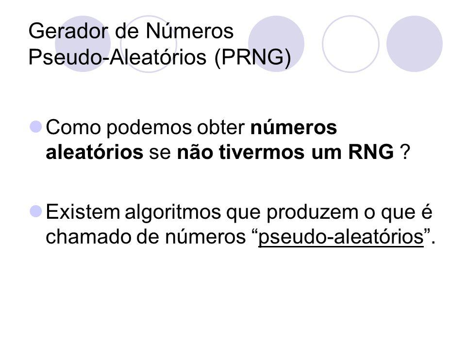 Gerador de Números Pseudo-Aleatórios (PRNG) Como podemos obter números aleatórios se não tivermos um RNG ? Existem algoritmos que produzem o que é cha