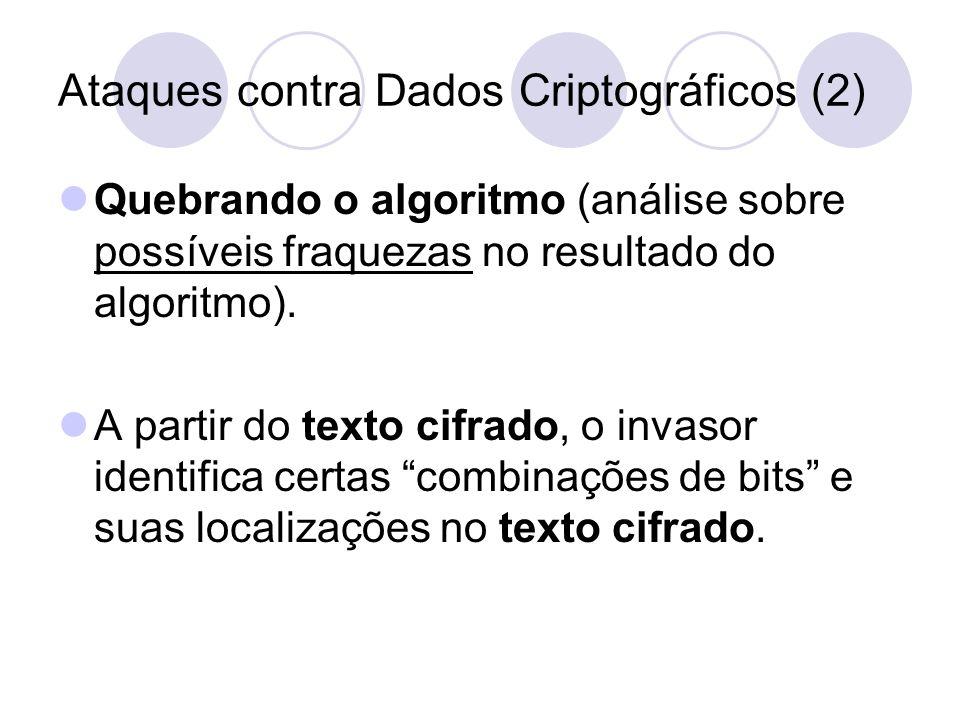 Ataques contra Dados Criptográficos (2) Quebrando o algoritmo (análise sobre possíveis fraquezas no resultado do algoritmo). A partir do texto cifrado