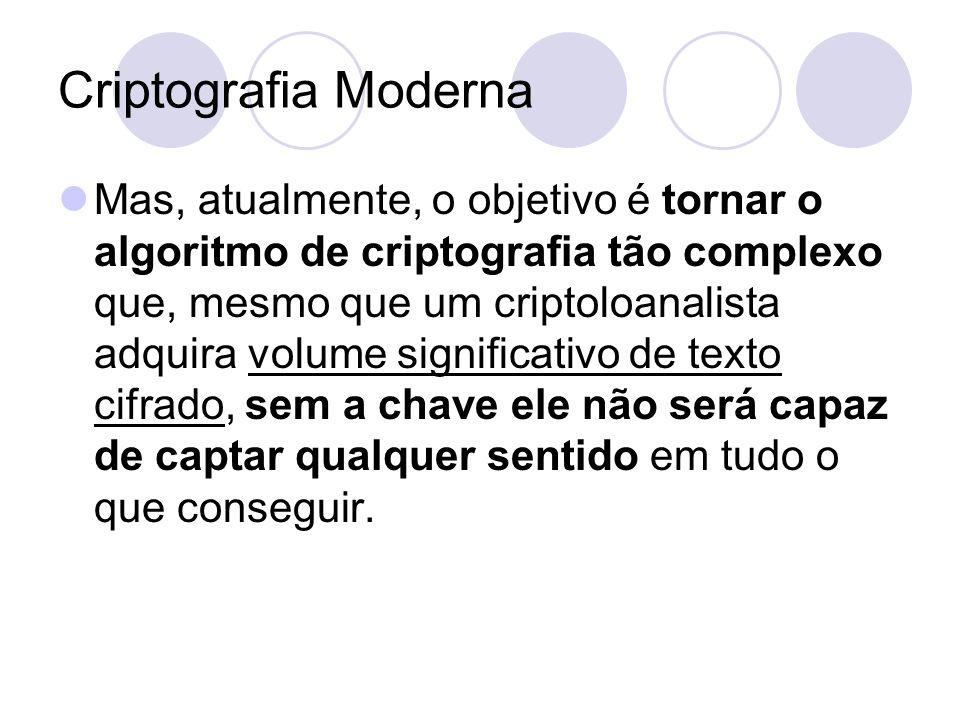 Criptografia Moderna Mas, atualmente, o objetivo é tornar o algoritmo de criptografia tão complexo que, mesmo que um criptoloanalista adquira volume s