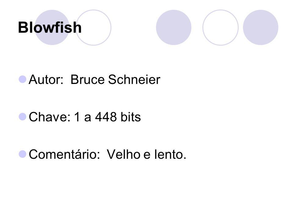 Blowfish Autor: Bruce Schneier Chave: 1 a 448 bits Comentário: Velho e lento.