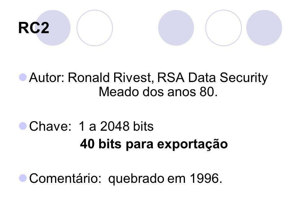 RC2 Autor: Ronald Rivest, RSA Data Security Meado dos anos 80. Chave: 1 a 2048 bits 40 bits para exportação Comentário: quebrado em 1996.
