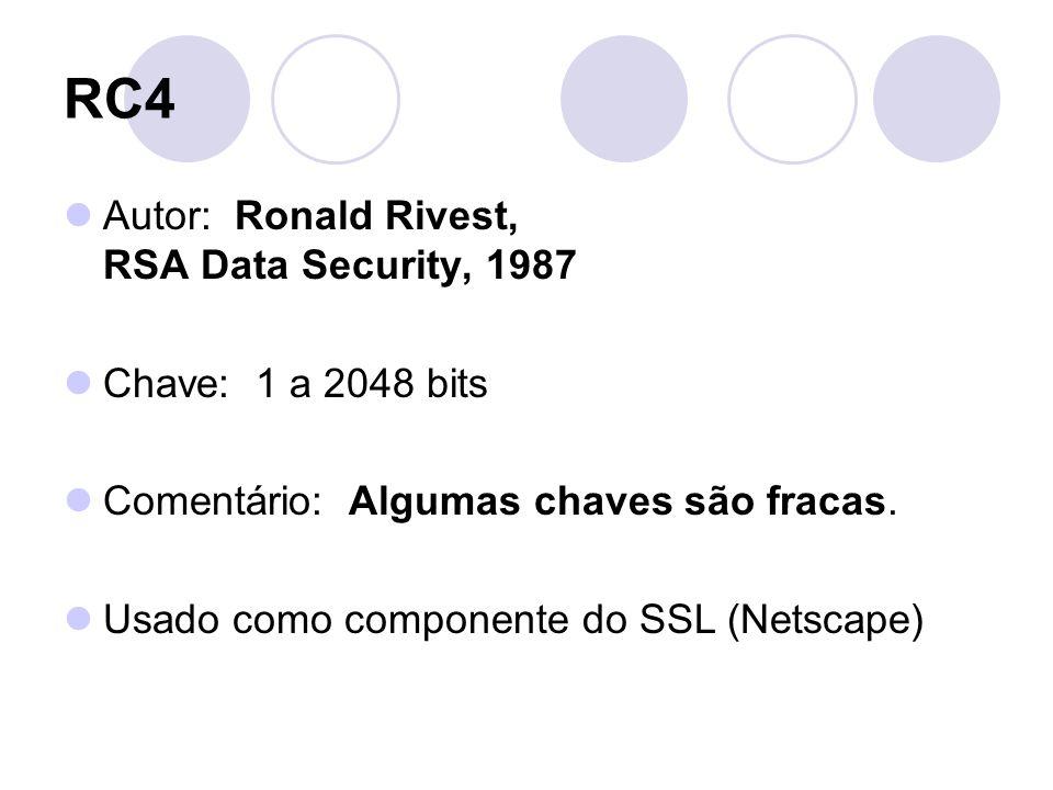RC4 Autor: Ronald Rivest, RSA Data Security, 1987 Chave: 1 a 2048 bits Comentário: Algumas chaves são fracas. Usado como componente do SSL (Netscape)