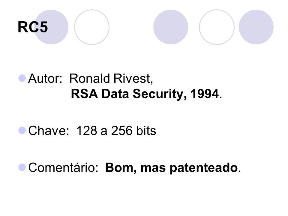 RC5 Autor: Ronald Rivest, RSA Data Security, 1994. Chave: 128 a 256 bits Comentário: Bom, mas patenteado.