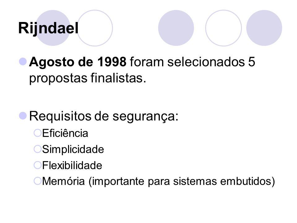 Rijndael Agosto de 1998 foram selecionados 5 propostas finalistas. Requisitos de segurança: Eficiência Simplicidade Flexibilidade Memória (importante