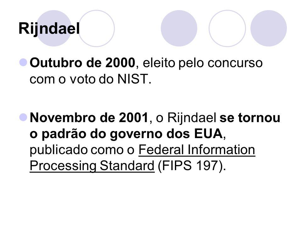 Rijndael Outubro de 2000, eleito pelo concurso com o voto do NIST. Novembro de 2001, o Rijndael se tornou o padrão do governo dos EUA, publicado como
