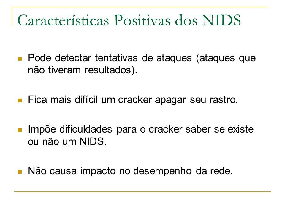 Características Positivas dos NIDS Pode detectar tentativas de ataques (ataques que não tiveram resultados).