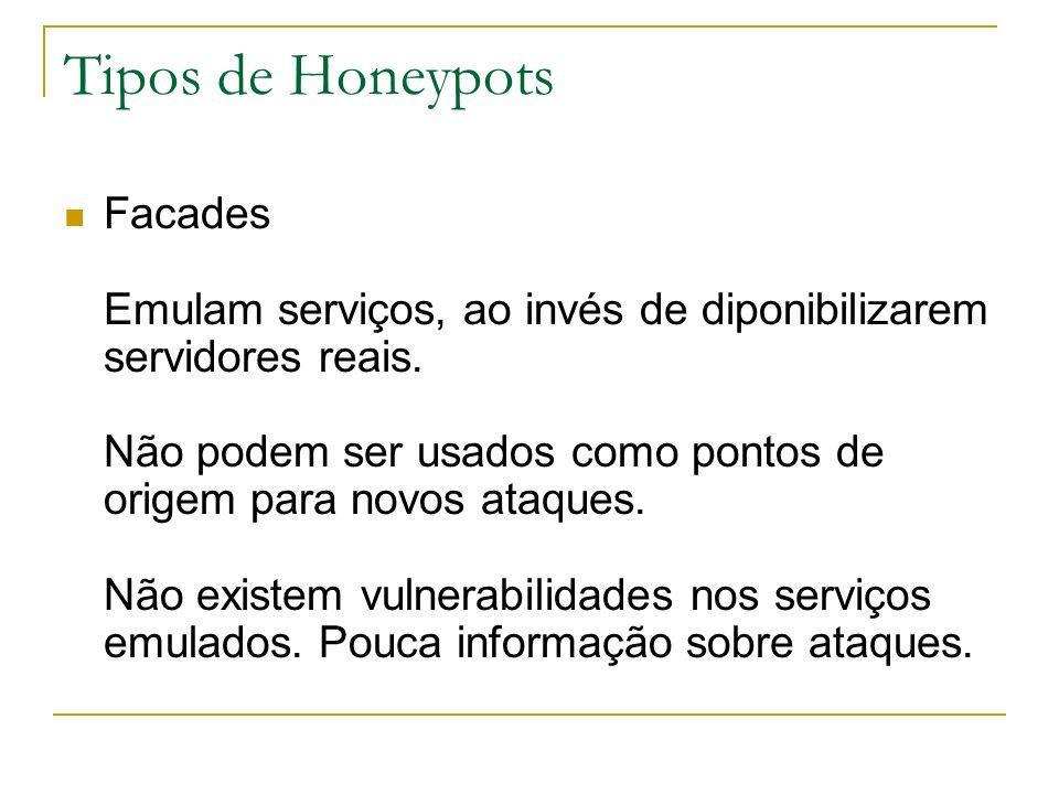 Tipos de Honeypots Facades Emulam serviços, ao invés de diponibilizarem servidores reais.