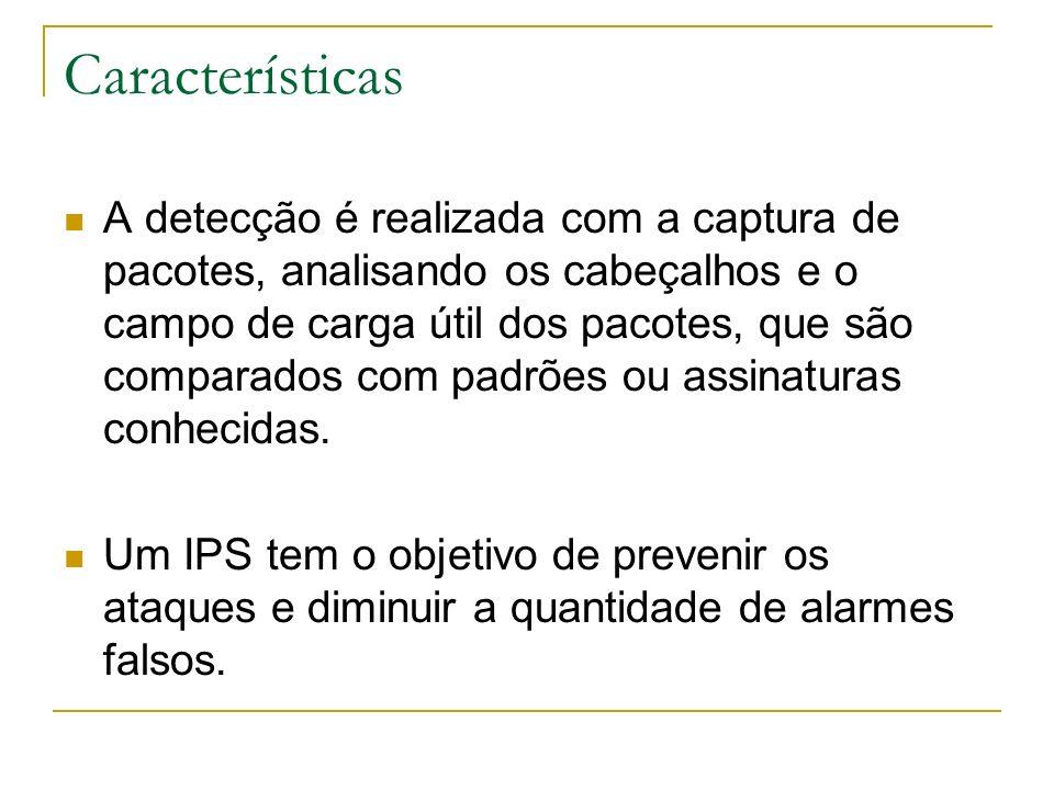 Exemplos de NIDS: RealSecure, NFR, Snort
