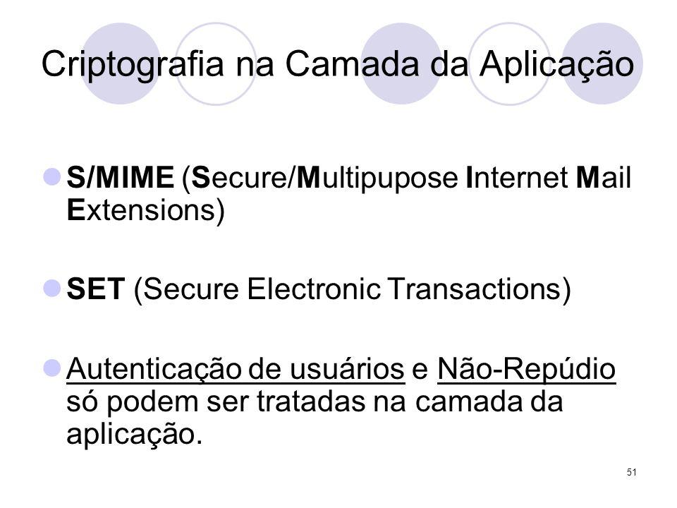 51 Criptografia na Camada da Aplicação S/MIME (Secure/Multipupose Internet Mail Extensions) SET (Secure Electronic Transactions) Autenticação de usuários e Não-Repúdio só podem ser tratadas na camada da aplicação.